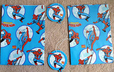 4 Spider-man Items - 2 Sheets of wrapping paper  plus 2 tags Spider-man theme