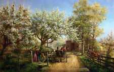Dream-art Oil Edward Lamson Henry The Homecoming carriage horses in spring art