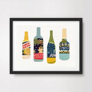 RETRO SODA BOTTLE GRAPHICS KITCHEN ART PRINT Fruit Drink Advertising Label