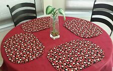Apples Placemats Oval Red & Black Premium Cotton Set of 4 New Handmade