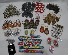 LOT OF 80+ UNIVERSAL NAMED KEY CHAINS- HARRY POTTER, TRANSFORMERS, SPONGE BOB
