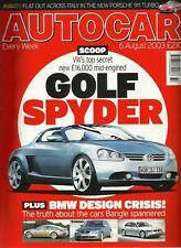 Autocar 6th August 2003, Golf, S60 R, RX300 v X5 v XC90 v Touareg, 911, BX GTi