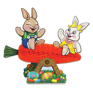 EASTER CARROT HONEYCOMB SEESAW WITH BUNNIES CENTREPIECE PARTY TABLE DECORATION