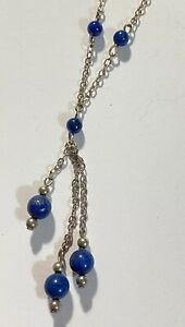 """MARKED 925 Sterling Silver Vintage Lapis Stone Chain Necklace 17"""" 5 grams #S284"""