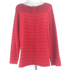 Womens Lane Bryant Size 22/24 Long Sleeves Metallic 2 Way Zipper Cardigan Red
