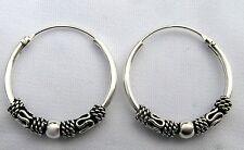 Pair Of Sterling Silver Bali Hoop Ball  Earrings  18  mm  !!      Brand  New  !!