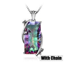 Natural Rainbow Tourmaline Gemstone 925 Silver Chain Pendant Necklace Jewelry