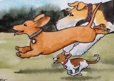 Aceo Original By Kit Lundwall Watercolor Ink Dog Dachshund Fox Terrier Chihuahua
