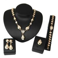 Fashion Women Gold Plated Crystal Bridal Jewelry Sets Alloy Necklace Earrings GA
