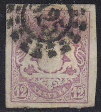 Germany - Bavaria 1867 12k Arms Ludwig II [silk thread] sg 48 Handstamped
