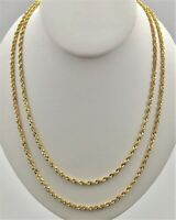 "10K Solid Yellow Gold 3mm Necklace Gold Rope Chain 16"" 18"" 20"" 22"" 24"" 26"" 30"""