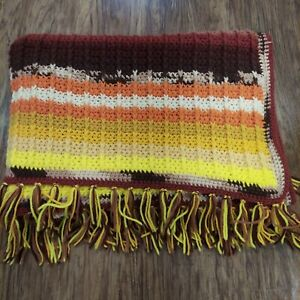 Handmade Crocheted Fringe Afghan 45 in x 70 in Fall Color Stripes