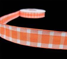 """5 Yd SALE Orange White Plaid Ribbon 5/8""""W"""