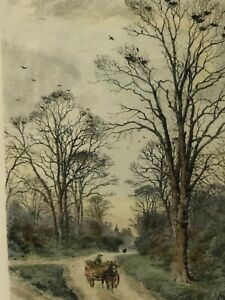 """Fredrick A. Slocombe (1847-1920) """"The Old Rookery"""" Color Etching Print, 8"""" x 13"""""""