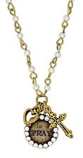 "Mini Word Charm Necklace PRAY with Cross & Heart, 24"", by Monarch Inspirations"