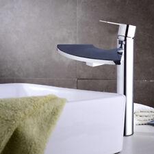 Waterfall Single Handle&Hole Deck Mounted Bathroom Basin Faucet Sink Chrome Tap
