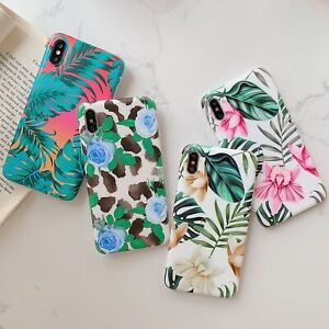 For iPhone 12 11 Pro XS MAX XR X 7 8 Plus Art Green Leaf Flower Phone Case Soft