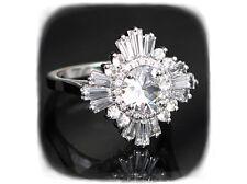 Art Deco White Baguette Round Diamond Gatsby Engagement Ring 14K White Gold Over