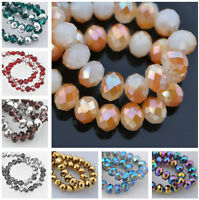 New 50pcs 6mm Rondelle Faceted Crystal Glass Loose Spacer Beads Jewelry Findings