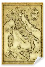 Postereck - Poster 0087 - Alte Landkarte Italien, Sepia Vintage Staedte Land