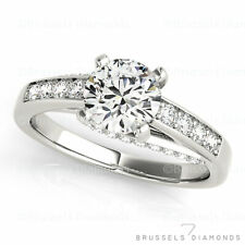 1.34 Ct NATURAL Diamond Solitaire Engagement Ring Round D/SI2 14K White Gold