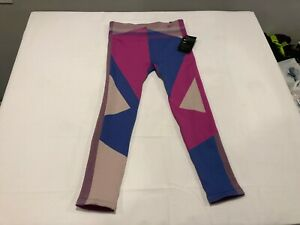 NWT $100.00 Nike Womens Sculpt Icon Clash Seamless 7/8 Tights Pink / Blue LARGE