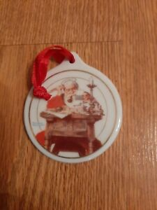 1996 JC Penny Norman Rockwell Santa Reading Letters Christmas Ornament Porcelain