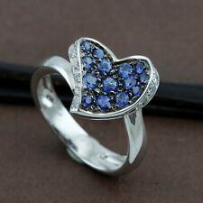 Genuine 18CT Solid WG Natural Sapphire & Diamonds Dress Ring