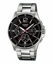MTP-1374D-1A Black Men's Casio Watches Analog Steel Bands (No box)