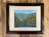 Original Oil Painting Peaceful Fly Fishing Nature 9x12 Framed 13x16