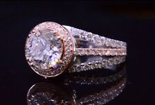 1.70ctw Natural Round Contemporary Split Shank with Natural Pink Diamonds Ring