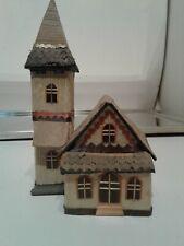 Antique Vintage Tiny Miniature Cardboard Putz House Christmas Village No Reserve