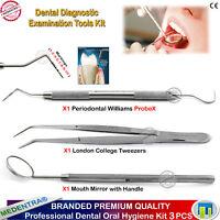 Dental Diagnostic Examination Kit Probes William Cotton Tweezers Explorer Scaler