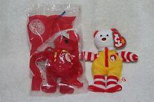 Ty Ronald McDonald Bear & 2004 Happy Meal 25th Red Bear Plush Beanie Baby NWT