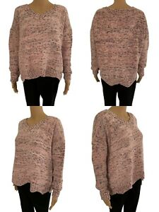 NEW Womens Knitted Jumper Dress Ladies Long Sweater Free Size UK10 12 14 16 Pink