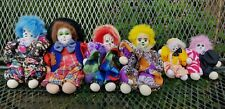 Lot of 6 Clowns Dolls with cotton Faces Head pre-owned