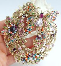 "3.54"" Insect Butterfly Brooch Pin Pendant Multicolor Rhinestone Crystal 04489C9"