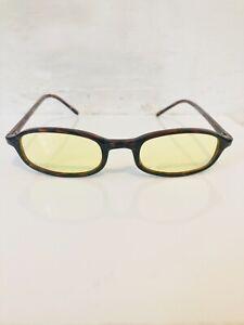 90's Slim Men's Rectangular Deadstock Tortoiseshell Effect Shades Yellow Lens