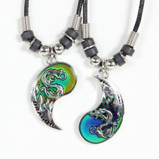 BEST FRIEND Mood Dragon Yin Yang  2 Pendants Necklace Set BFF Friendship Ying
