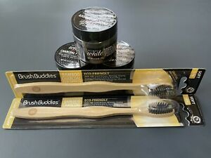 Brush Buddies Charcoal⭐5Pc SET⭐2 Toothbrushes & 3 Ultimate White Charcoal Powder