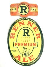 Vintage Renner Premium Ale Beer Bottle Label Youngstown Ohio & Neckband 12oz