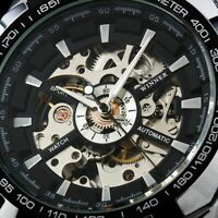 Mens Watch Automatic Silver Stainless Steel Case Self-winding Date Analog Luxury