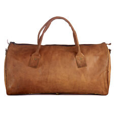 Fair Trade Handmade Large Brown Leather Duffle Style Gym Bag - 2nd Quality