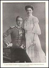 STAMPA 1905 NOZZE KRONPRINZ FEDERICO GUGLIELMO GERMANIA CECILIA DI MEKLEMBURGO
