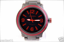 Stainless Steel Onyx Color Watch with Red Dial Numbers Water Proof 30M #J2308