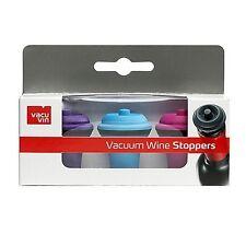 Vacu Vin Wine Saver Vacuum Stoppers, Set of 3 - Purple / Blue / Pink