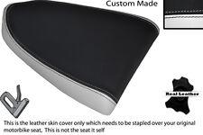 BLACK & WHITE CUSTOM FITS APRILIA RSV RSVR 1000 04-08 REAR LEATHER SEAT COVER