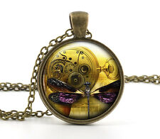 Dragonfly Steampunk Clock Pendant Necklace - Antique Bronze Insect Art Xmas Gift