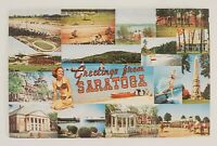 Vintage Greetings Postcard Divided Chrome Saratoga Springs New York Adirondacks