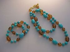 Estate Costume Joan Rivers Turquoise and Brown Bead Necklace and 2 Bracelet Set